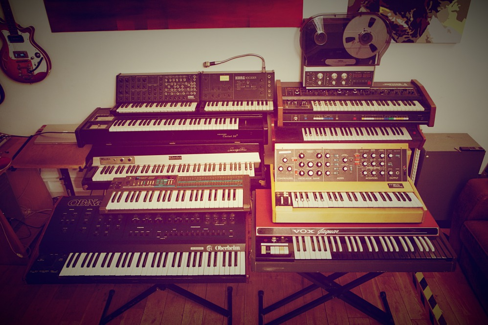 Analog keyboards that would make Stevie Wonder happy if he came to record at The Lab Studio in Clapham