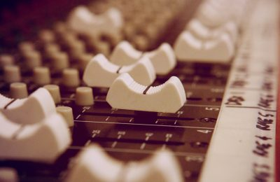 Close up of Toft ATB mixing console