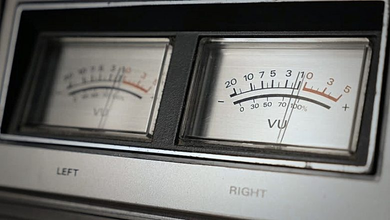 analog VU meters to illustrate mastering